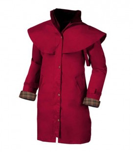DAMES REGENMANTEL 3/4 LANG OUTRIDER SPICEY RED