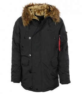 ALPHA INDUSTRIES EXPLORER PARKA ZWART