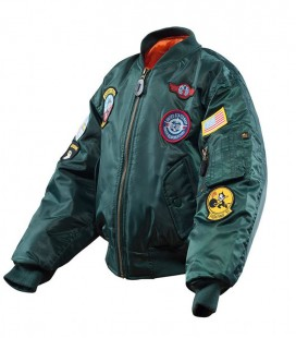 KINDER FLIGHTJACKET(BOMBER) PILOTEN JACK  BOTTLE GROEN