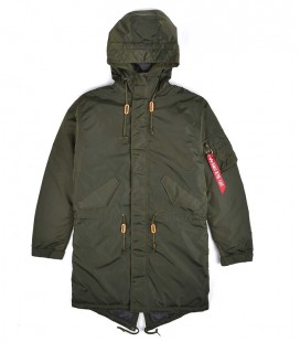 HOODED FISHTAIL CW TT  ALPHA INDUSTRIES  DARK GREEN