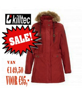 KILLTEC BASARA DAMES CASUAL SOFTSHELL PARKA /MANTEL MET AFNEEMBARE CAPUCHON BURDED RED
