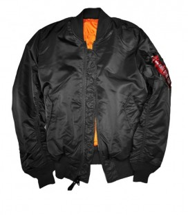 ALPHA INDUSTRIES MA-1 NYLON FLIGHT/BOMBER JACKET ZWART
