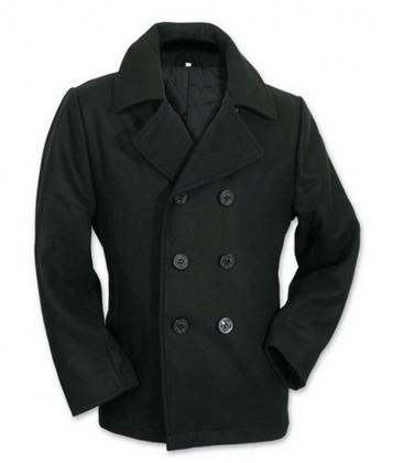 Klassieke Winterjas Heren.Wollen Marine Jekker Deck Jack Heren Zwart Winterjas Fostex Zwart